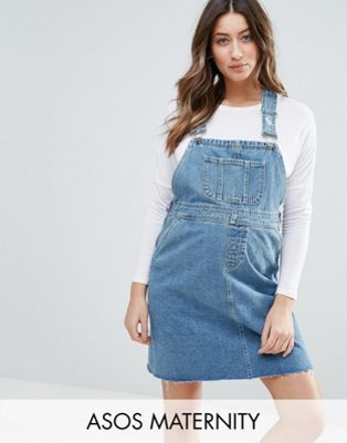 30aa4a45eedc MATERNITY Denim Dungaree Dress in Midwash Blue | maternity ...