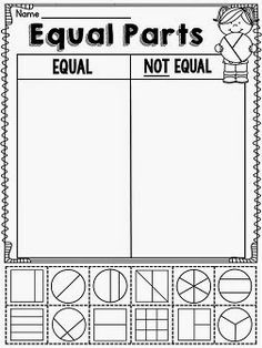 Equal and not equal parts worksheets and activities perfect for ...