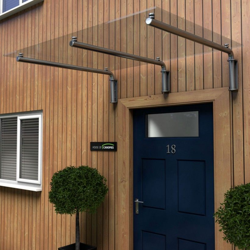 Glass Door Canopy With Tubular Stainless Steel Brackets Type M