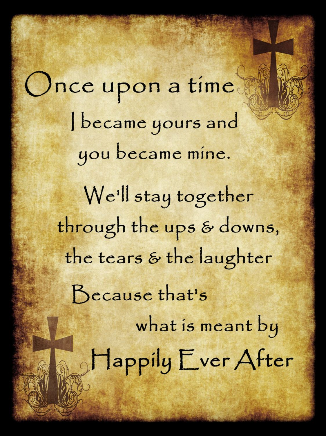 Happily Ever After Newlywed Vow Poster, Engaged Couple Oath Wall Art ...