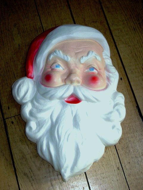 vintage 60s santa face large mid century outdoor christmas decor - Vintage Plastic Outdoor Christmas Decorations