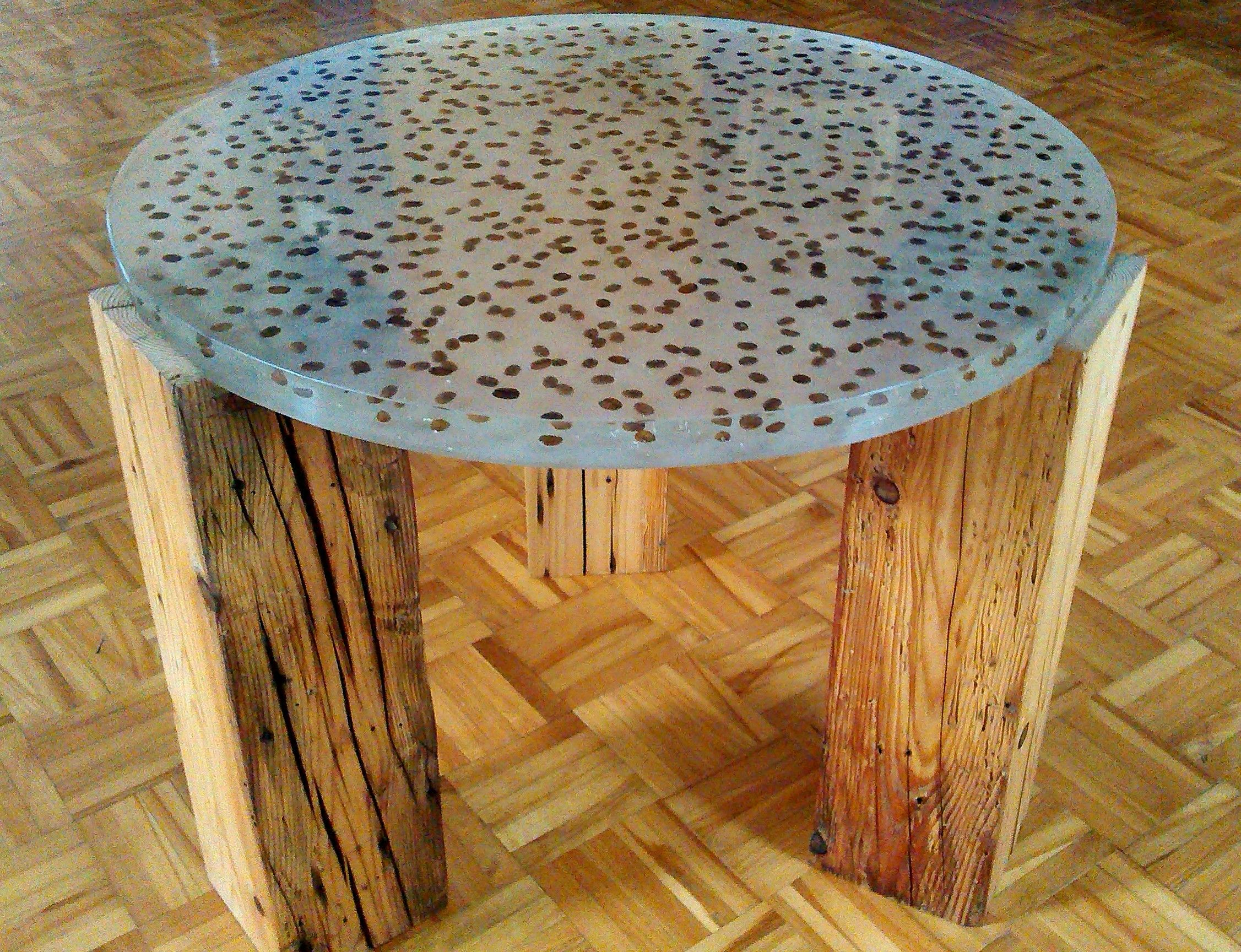 Magnificent End Table Made With Real Coffee Beans Embedded In A Inzonedesignstudio Interior Chair Design Inzonedesignstudiocom