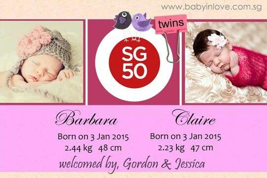 Twins birth announcement card