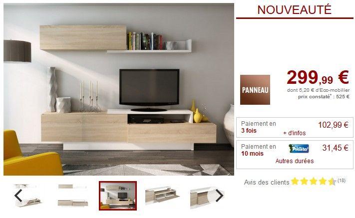 mur tv monty avec rangements blanc et ch ne vente unique pinterest unique rangement pas. Black Bedroom Furniture Sets. Home Design Ideas