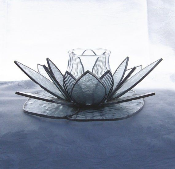 Stained Glass Lotus Flower Candle Holder Dots Stained Glass
