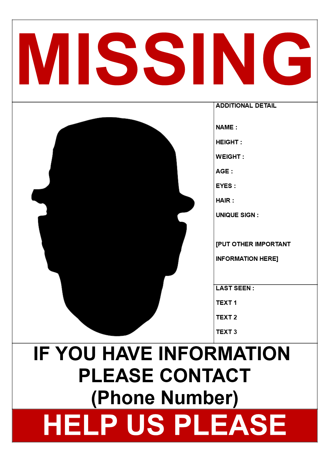 Help To Find Missing Person Poster Template Word Help To Find Missing Person Poster Template Word Person Template Missing Posters Poster Template Free