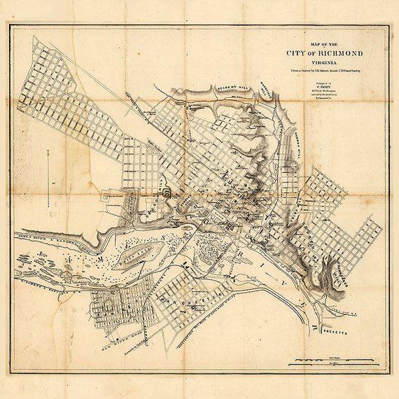 Map of richmond 1864 vintage richmond map in 4 sizes up to 36x36 map of richmond 1864 vintage richmond map in 3 by robertsmaps malvernweather Images