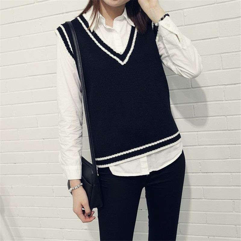 Autumn-V-Neck-Striped-Women-Vests-2015-Fashion-Sweater-Vest-For ...