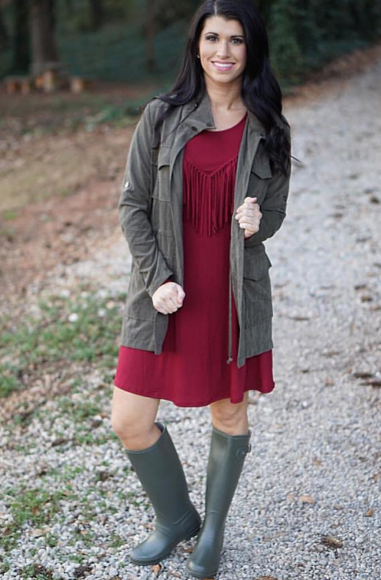 Kelsey is ready for the rain...you can be too with the 'Make a Splash' rain boot! Shop this whole outfit online NOW & in stores! #rainboots #shopPD