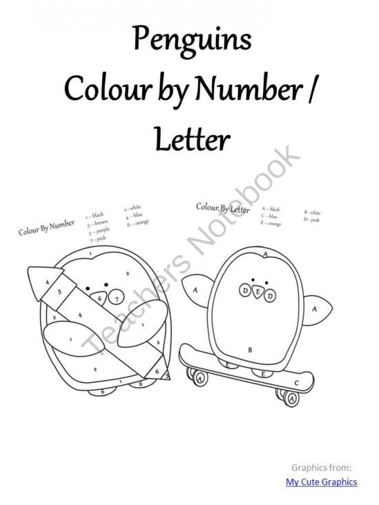 Penguin Colour By Number / Letter from AMomentInOurWorld