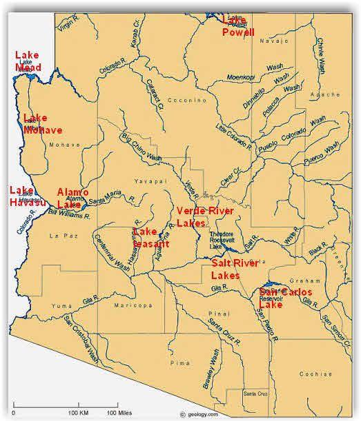 Map Of Arizona Rivers.Arizona Rivers And Lakes Arizona Lake Powell Oak Creek