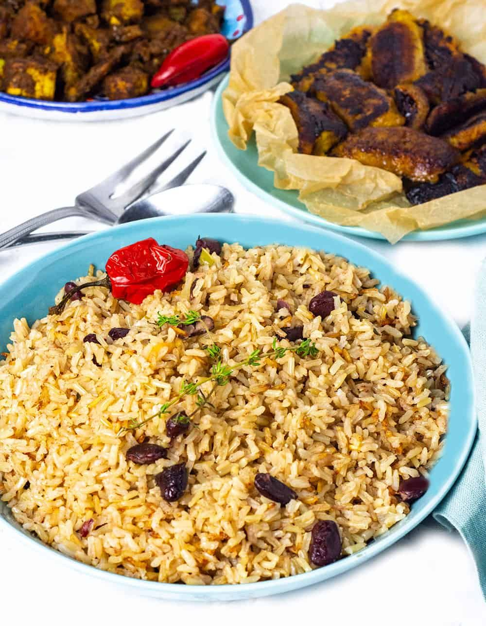 jamaican rice and peas in a blue bowl  pea recipes
