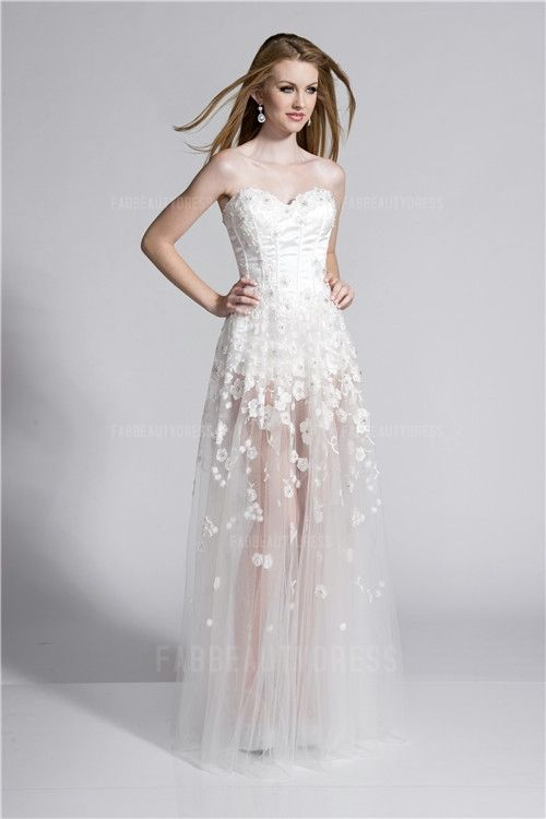 A-Line/Princess Sweetheart Floor-length Lace Prom Dress