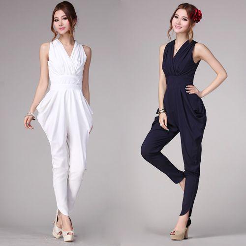 fashion white jumpsuit for women 2013 elegant black