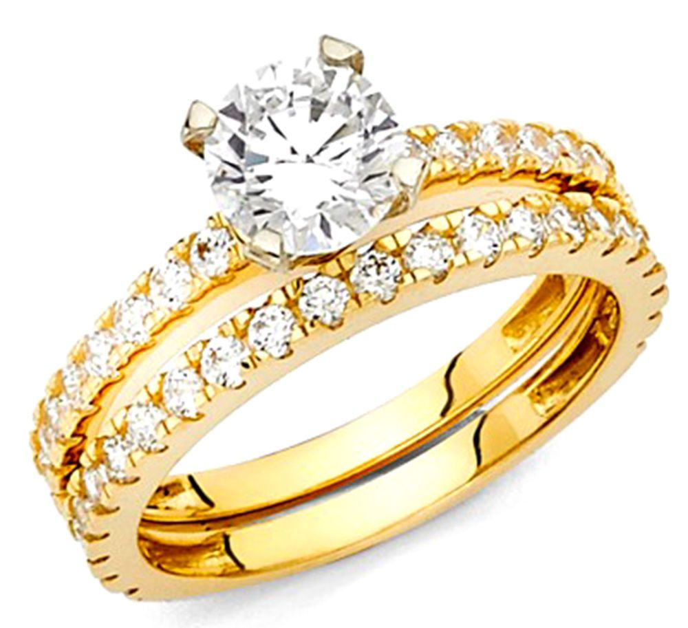 14k real Yellow Gold  Round cut  Engagement Wedding  BAND Size 7  | eBay