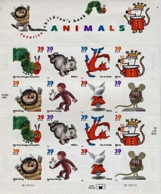 Childrens Book Animals 16 X 39 Cent Us Postage Stamps 1280 One 1
