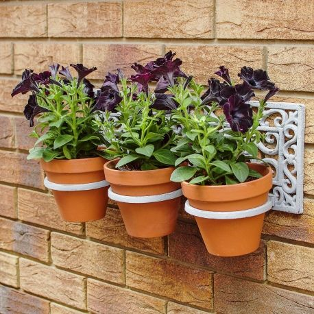 Large Wall Mountable Cast Iron Triple Garden Plant Pot Holder In Antique  Grey Finish #gardening