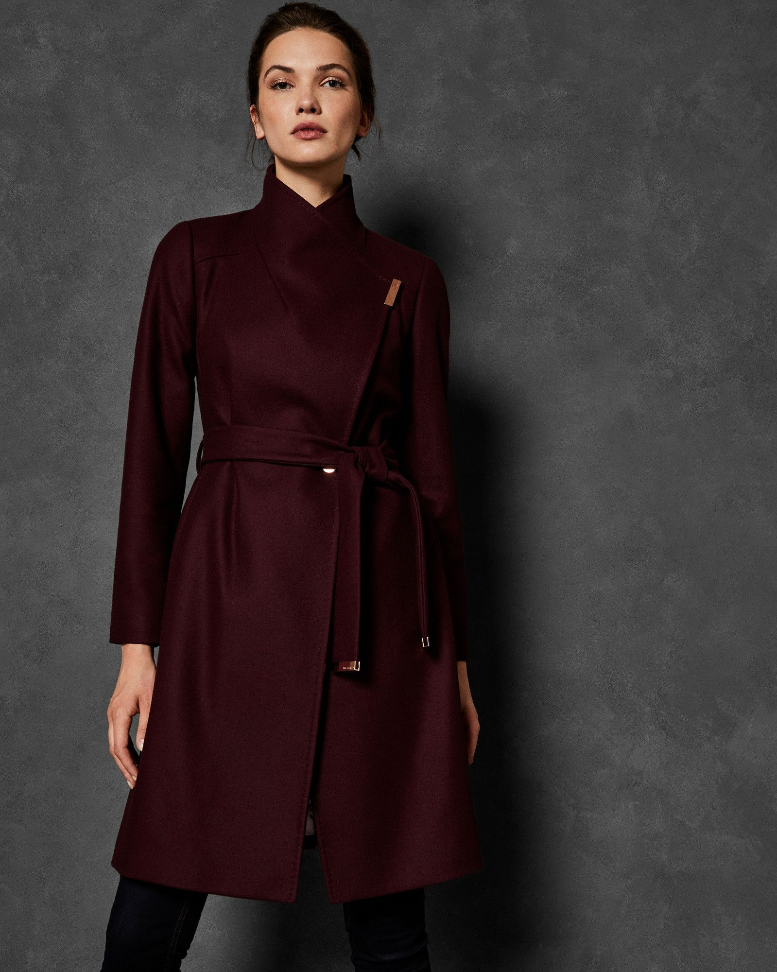 bc81d69a1fd SANDRA Long wool wrap coat Ted Baker