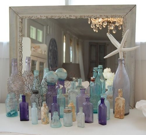 sea glass finds it's way home in this beautiful display