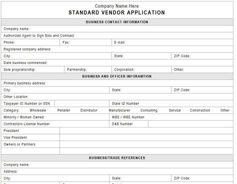 Vendor Application Template  Business    Internal