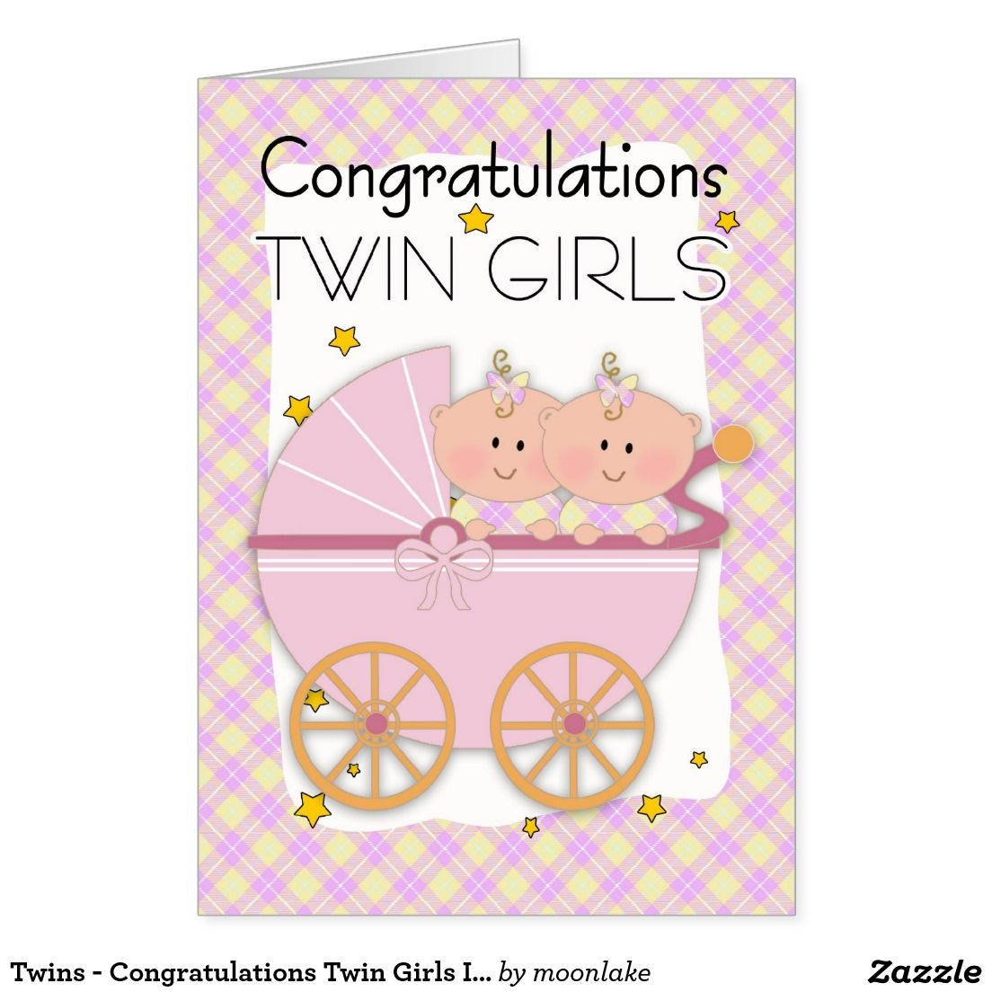 Twins - Congratulations Twin Girls In A Pram