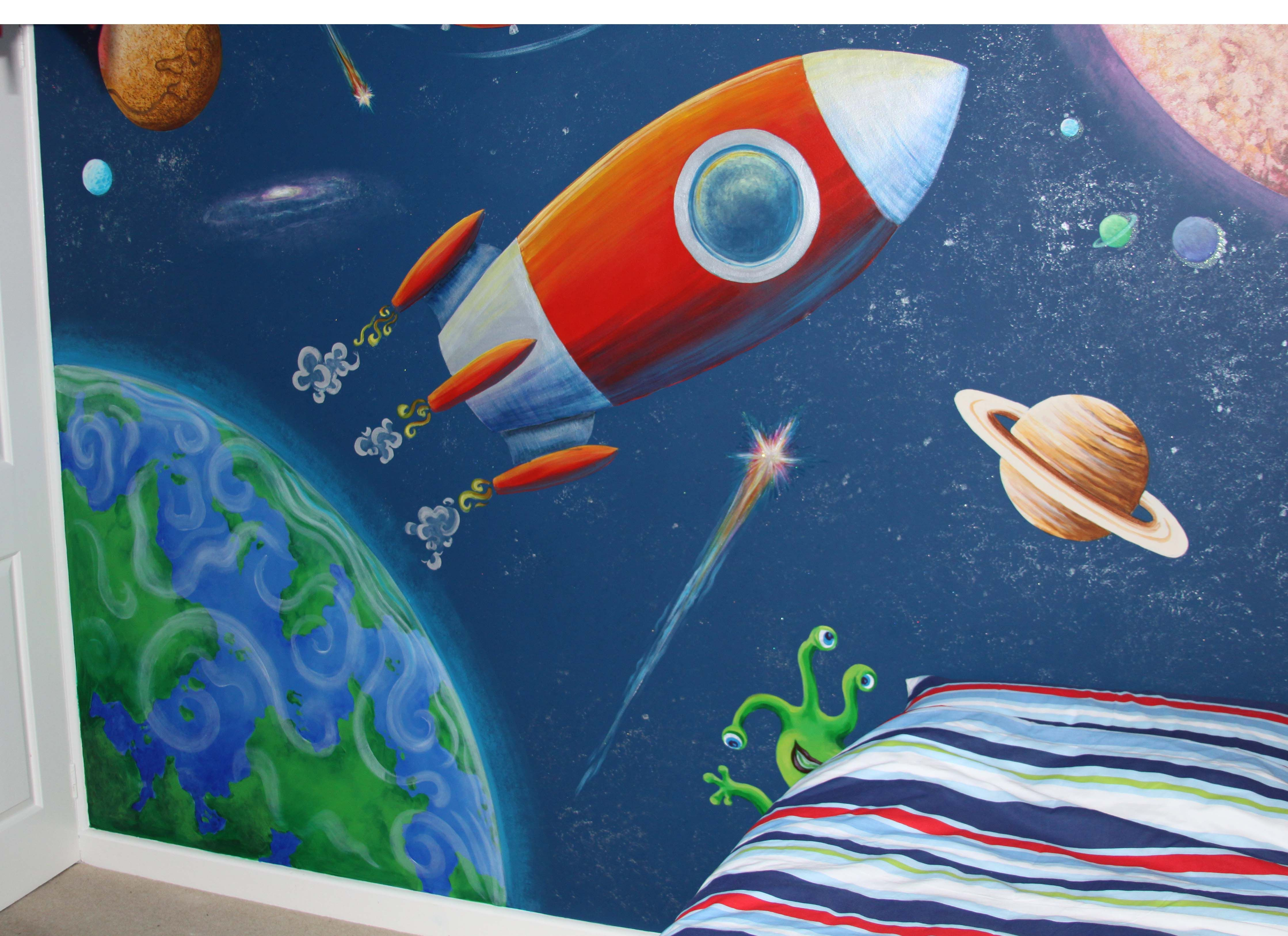 Alice on the Wall » Outer Space Mural Kids room wall