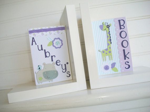 personalized bookends made to coordinate with carters zoo garden