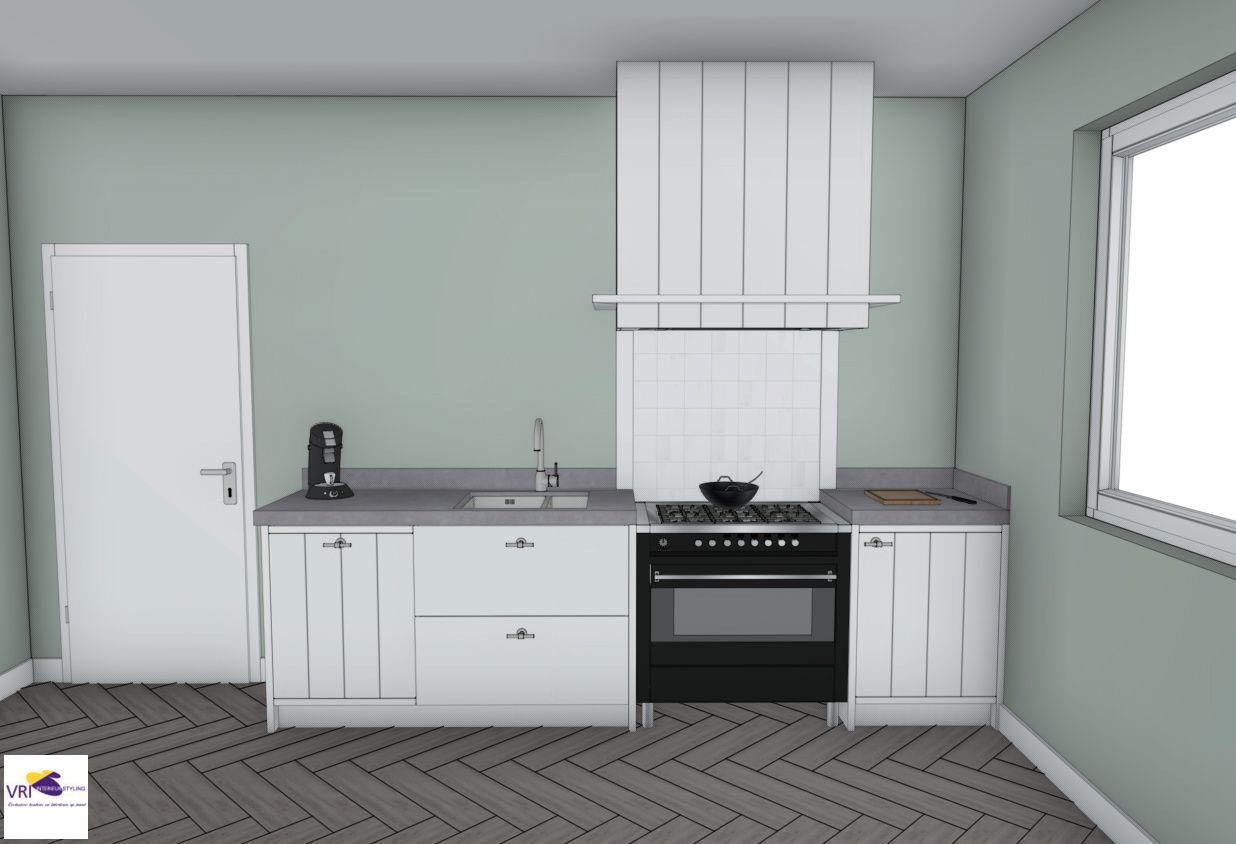 Landelijke moderne keuken met fornuis in 3D | ontwerp: Monique van ...