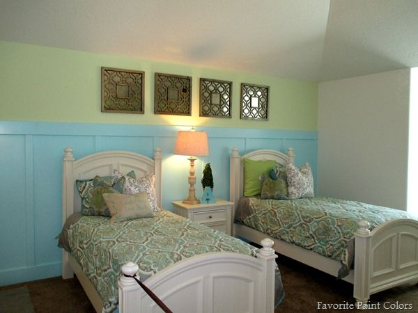 Favorite Paint Colors Bedroom Ideas Top Is Pale Vista And Bottom Painted Jamaican Aqua By Benjamin Moore