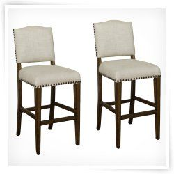 Exceptionnel AHB Worthington Counter Stool   Coastal Gray With Sahara Sand Linen  Upholstery   Set Of 2