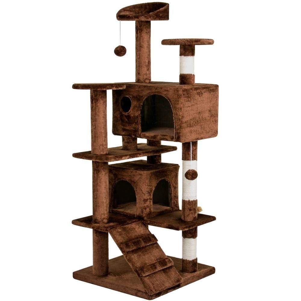 Amazon Com Yaheetech Cat Kitten Tree Condo Furniture Scratcher Play Beige 51 2 H Pet Supplies Kitten House Outdoor Cat House Heated Outdoor Cat House