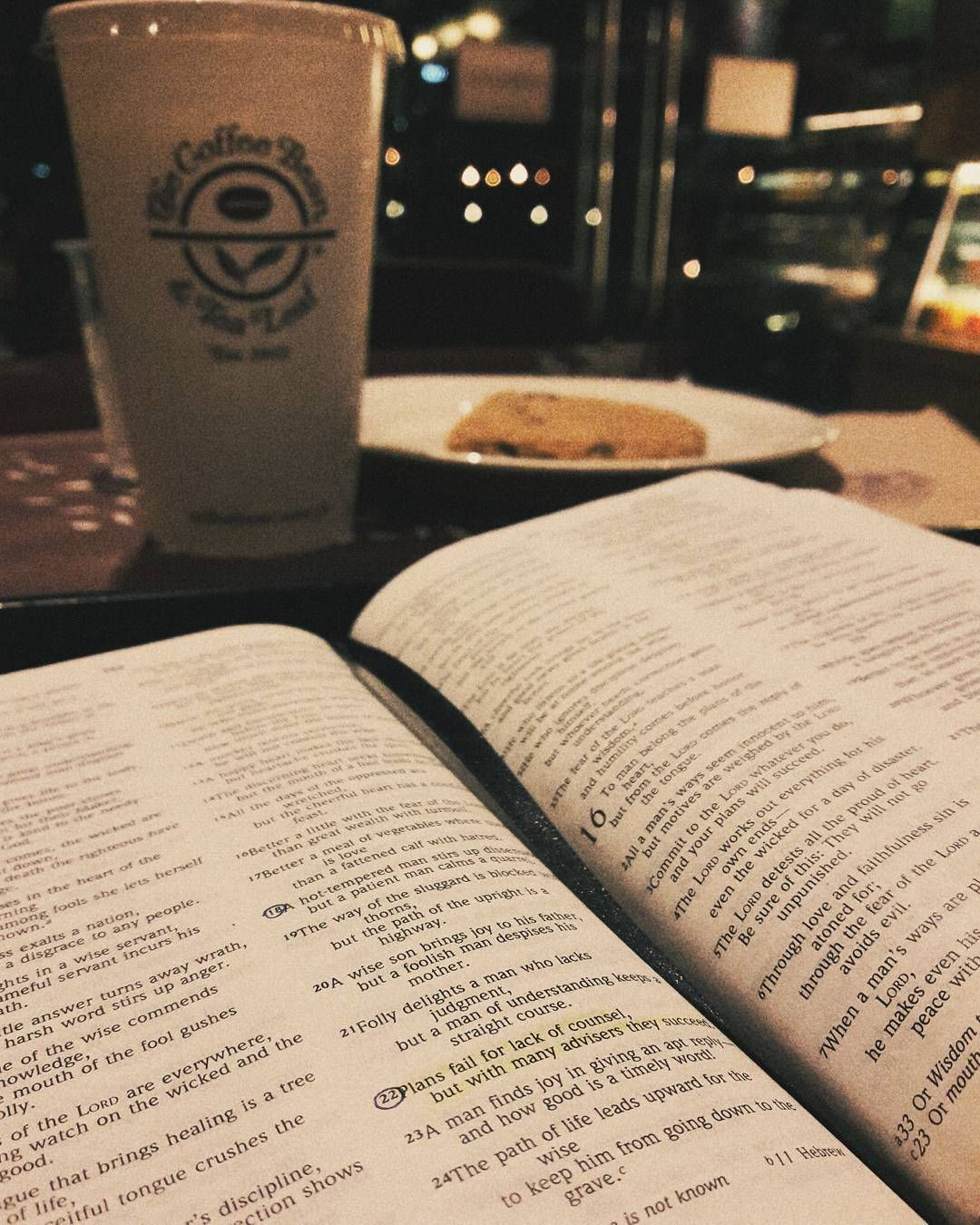 """Plans fail for lack of counsel but with many advisers they succeed. -Proverbs 15:22 . . """"Who is so wise as to have perfect knowledge of all things? Therefore trust not too much to your own opinion but be ready also to hear the opinions of others."""" -Thomas à Kempis . . . Lovely night at CBTL.  . . . .  #bibleverse #coffee #proverbs #cbtl #cbtlph #vsco #vscocam #vscoph #vscophile #vscogood #grainy #wordfortheday #verseoftheday #bible #scripture #biblestudy #quiettime #devotion #dailydevotion…"""