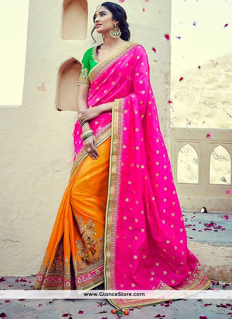 549cd64086a56 Tempting Banarasi Silk Zari Work Half N Half Saree