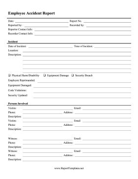 Keep Track Of Accidents In The Workplace With This Printable Employee Incident  Report. Free To