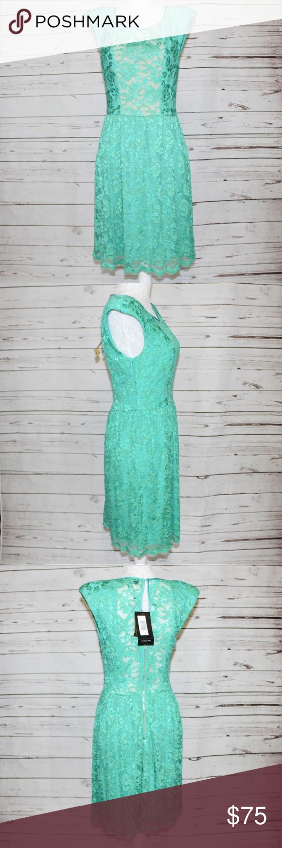 ABS Allen Schwartz Green Lace Overlay Dress NWT ABS Allen