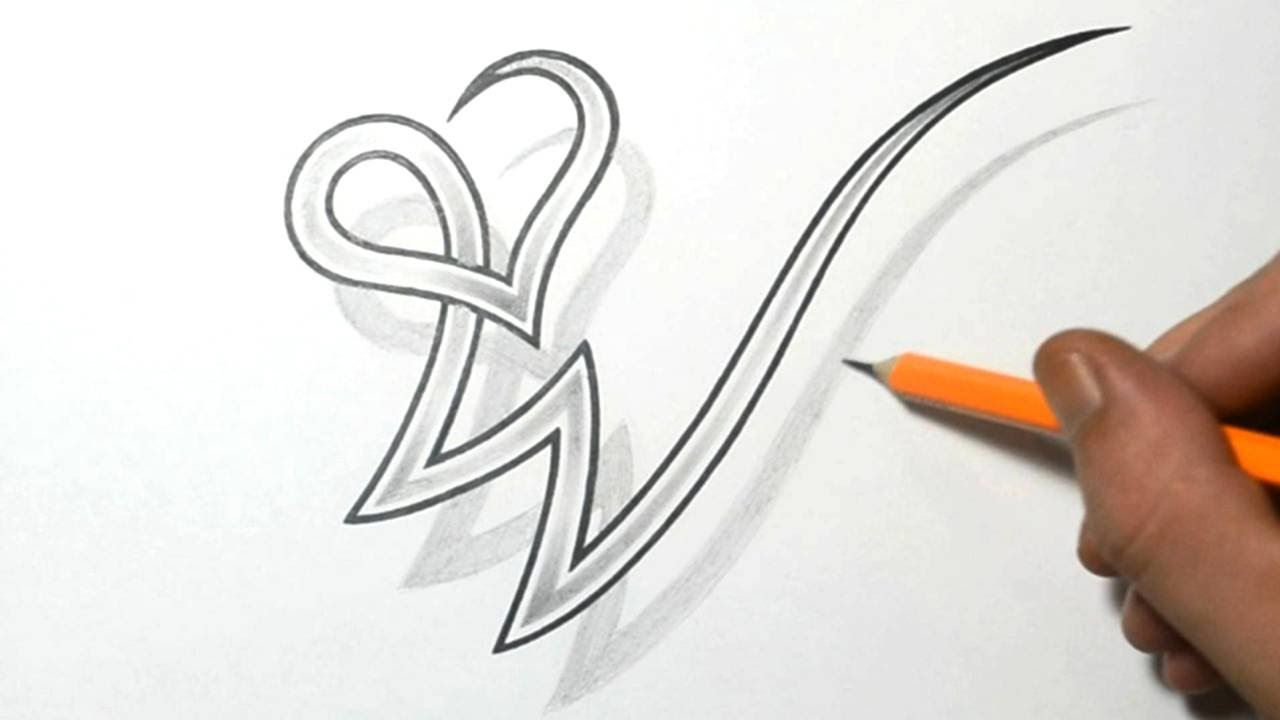 Drawing Letter W Combined with a Heart Design | letters ...