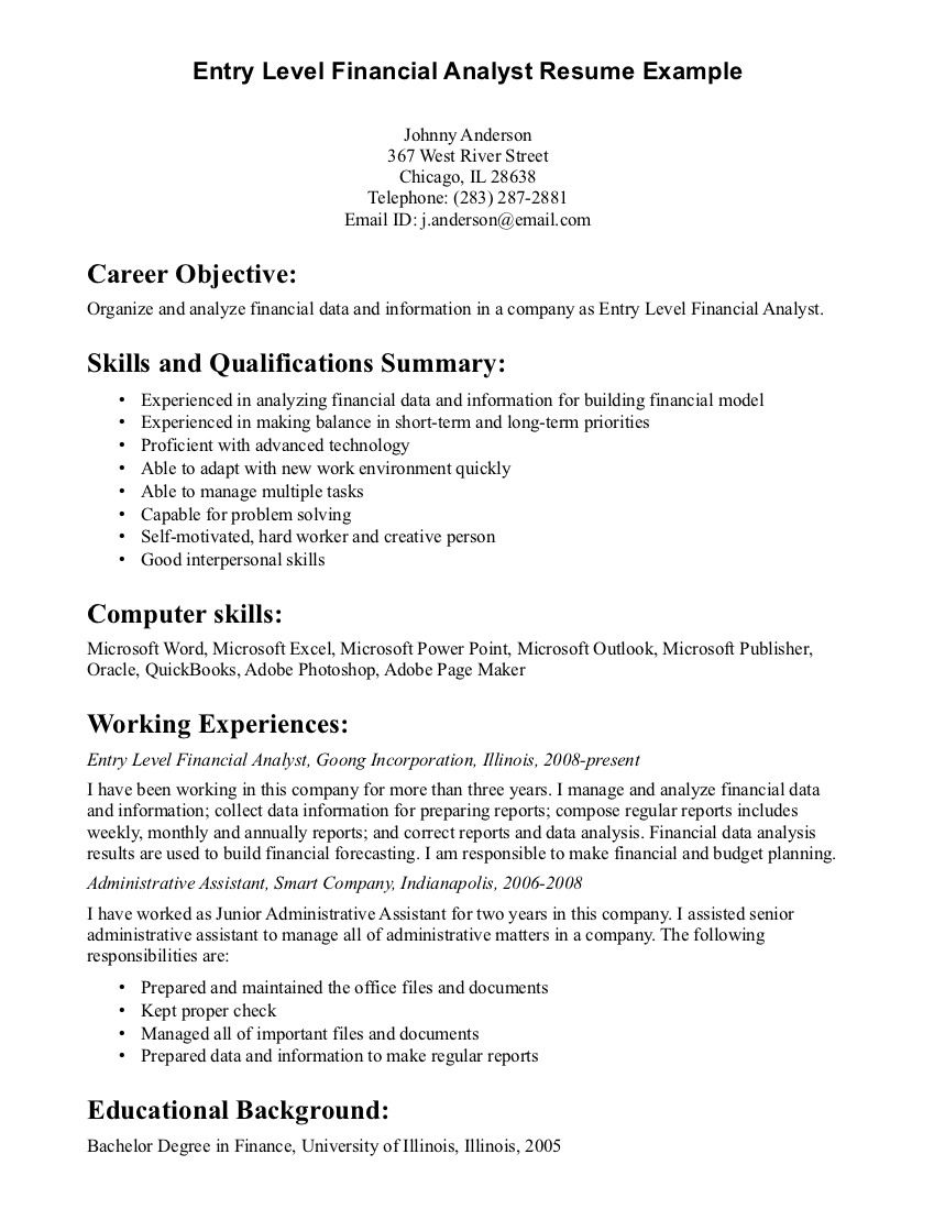 General Resume Objective Statements Entry Level Financial Analyst Resume Example  Jobs  Pinterest