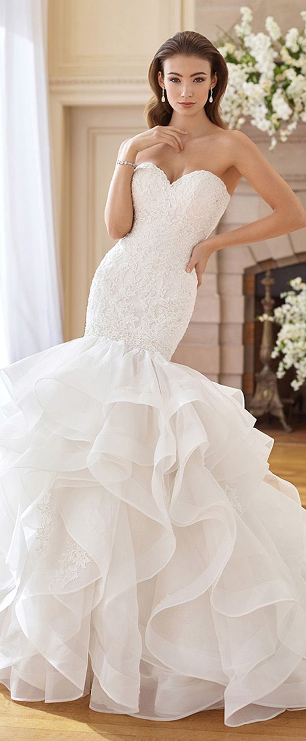 Gorgeous Tulle & Organza Sweetheart Neckline Mermaid Wedding Dresses ...
