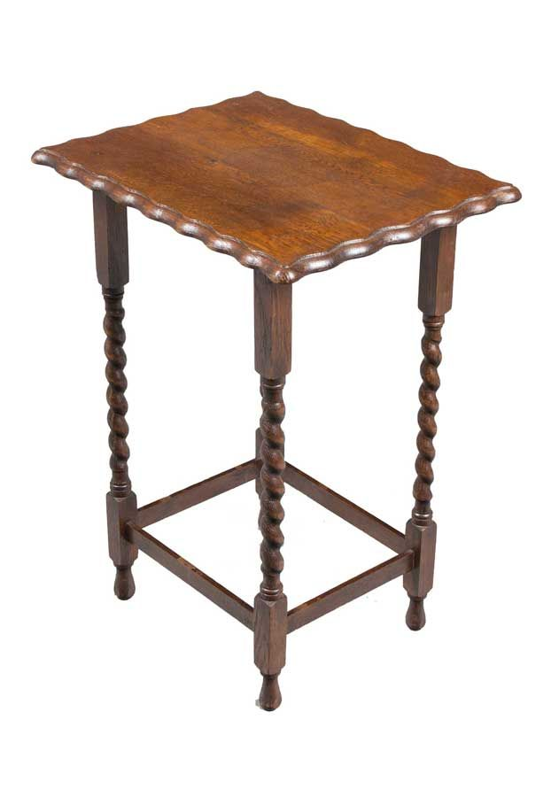 Amazing A Barley Twist Leg Antique Side Table From England With A Scalloped Edge  Top. Excellent