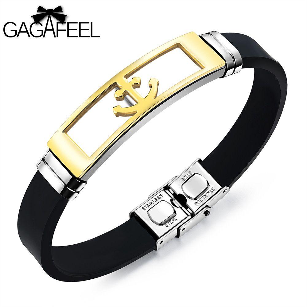 Gagafeel stainless steel anchor bracelet punk rock men jewelry