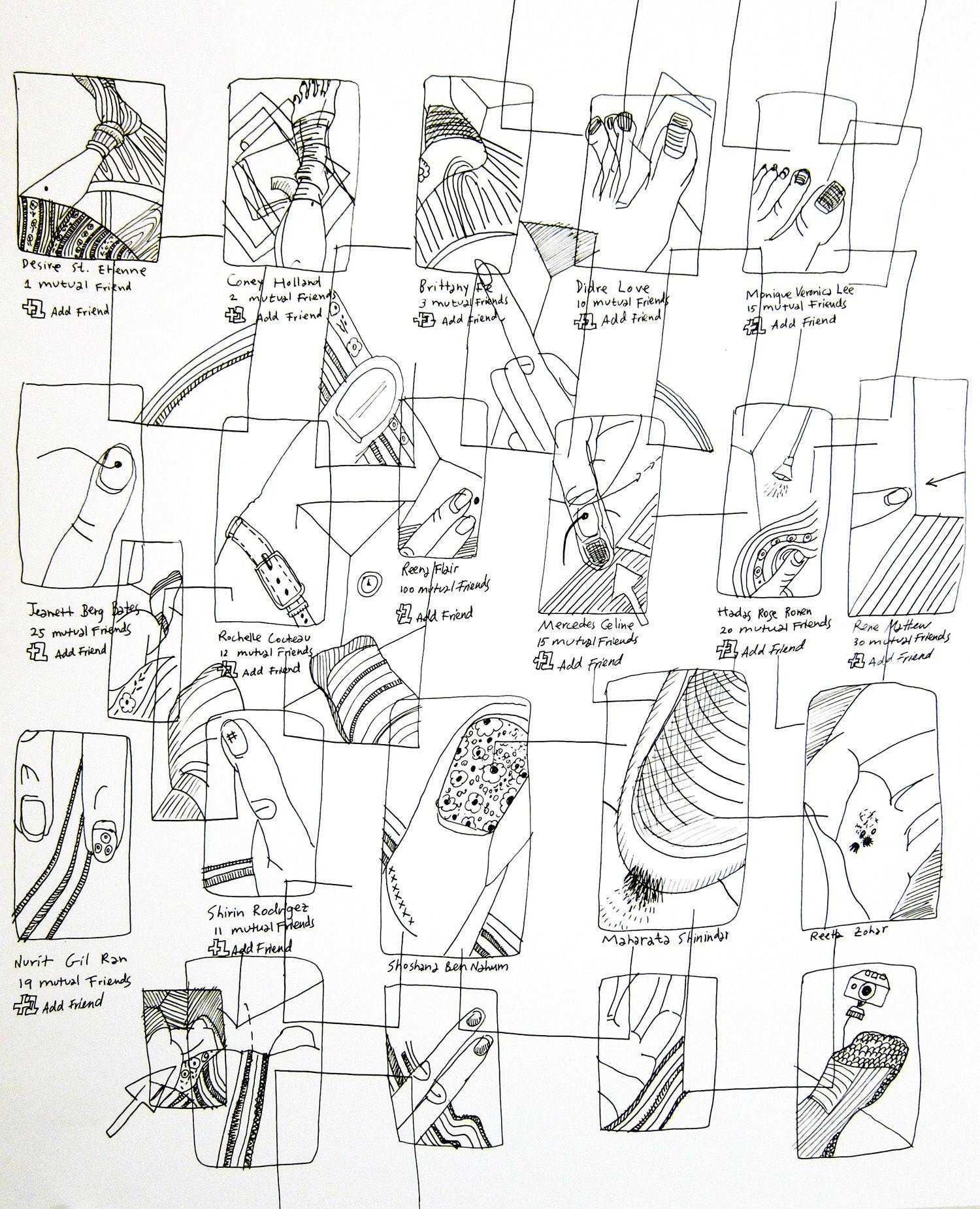 Etty Yaniv Add Friend 2 Pen On Paper 14 X 17