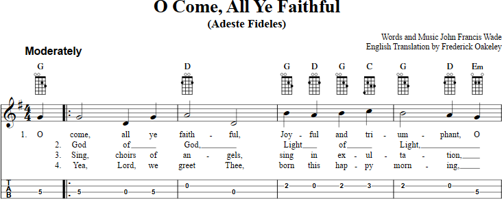 O Come All Ye Faithful sheet music for mandolin with chords, lyrics ...
