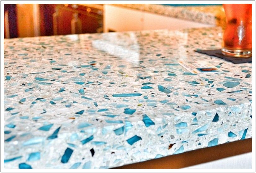 Floating Blue Vetrazzo Glass And Portland Cement Countertop 3 Recycled Glass Countertops Glass Countertops Kitchen Remodel Countertops
