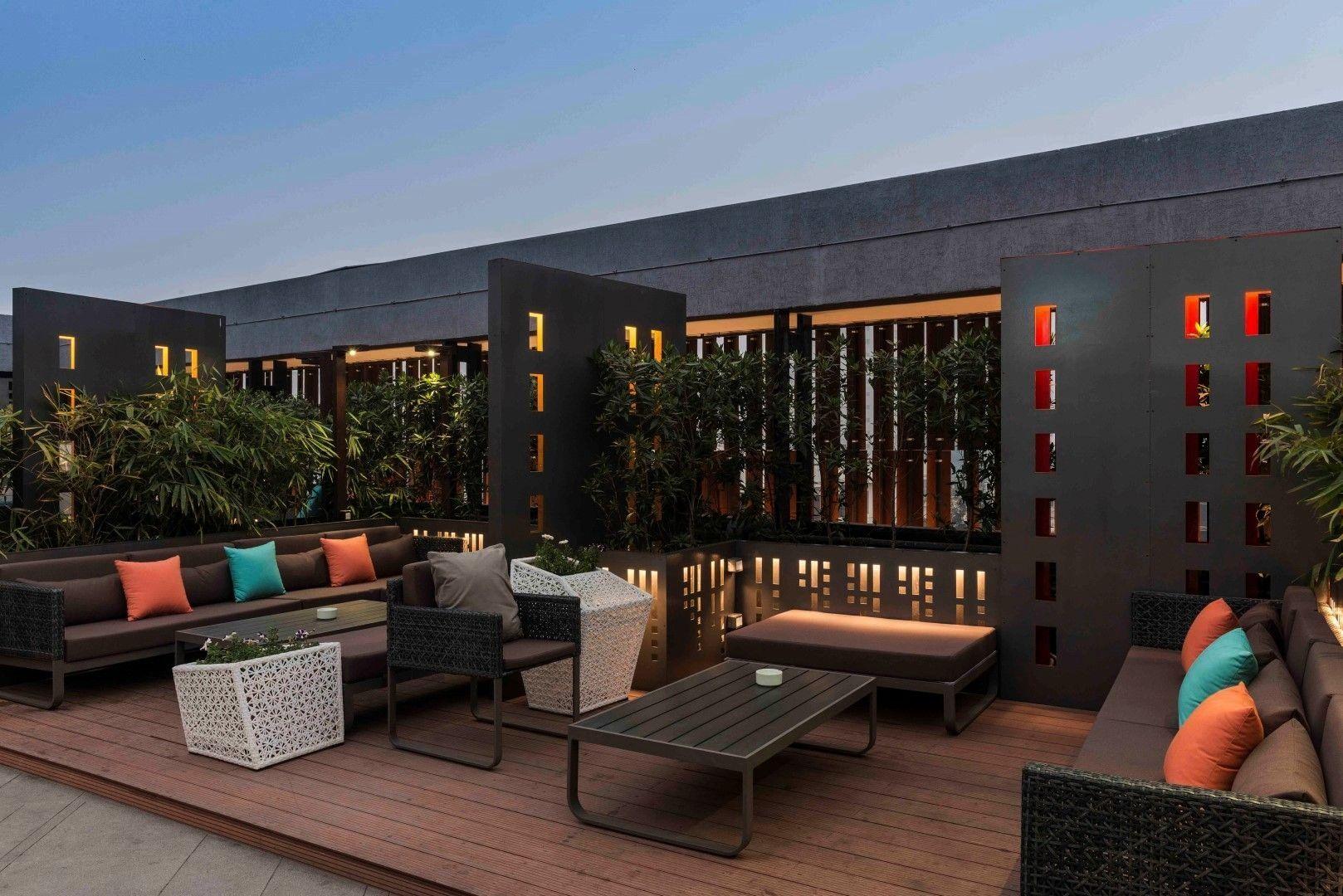 Restaurant Architects Terrace Balcony Lucknow Jobalia Design Levana Suites Studio Hotel Hiral Diary Cafe Thet In 2020 Cafe Terrace Cafe Design Architect