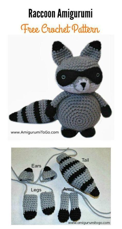Raccoon Amigurumi Free Crochet Pattern   Crochet Stuffed Animals ...