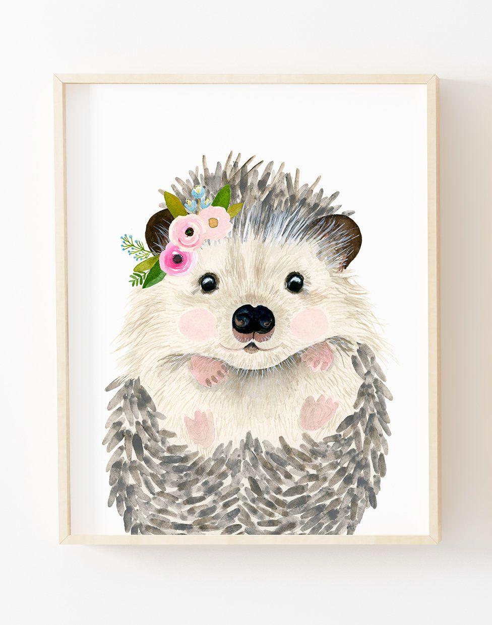 Watercolor baby hedgehog Woodland nursery flower crown ...