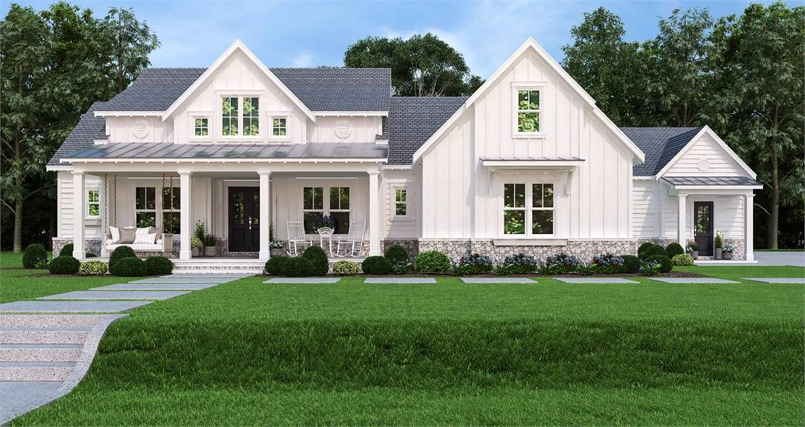 Updated Farmhouse Style House Plan 7382 Pinecone Trail Farmhouse Style House Plans Modern Farmhouse Plans Farmhouse Style House
