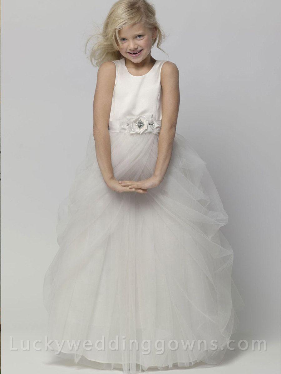 Diamond White Junior Girl Dress With Ball Gown Floor Length Skirt