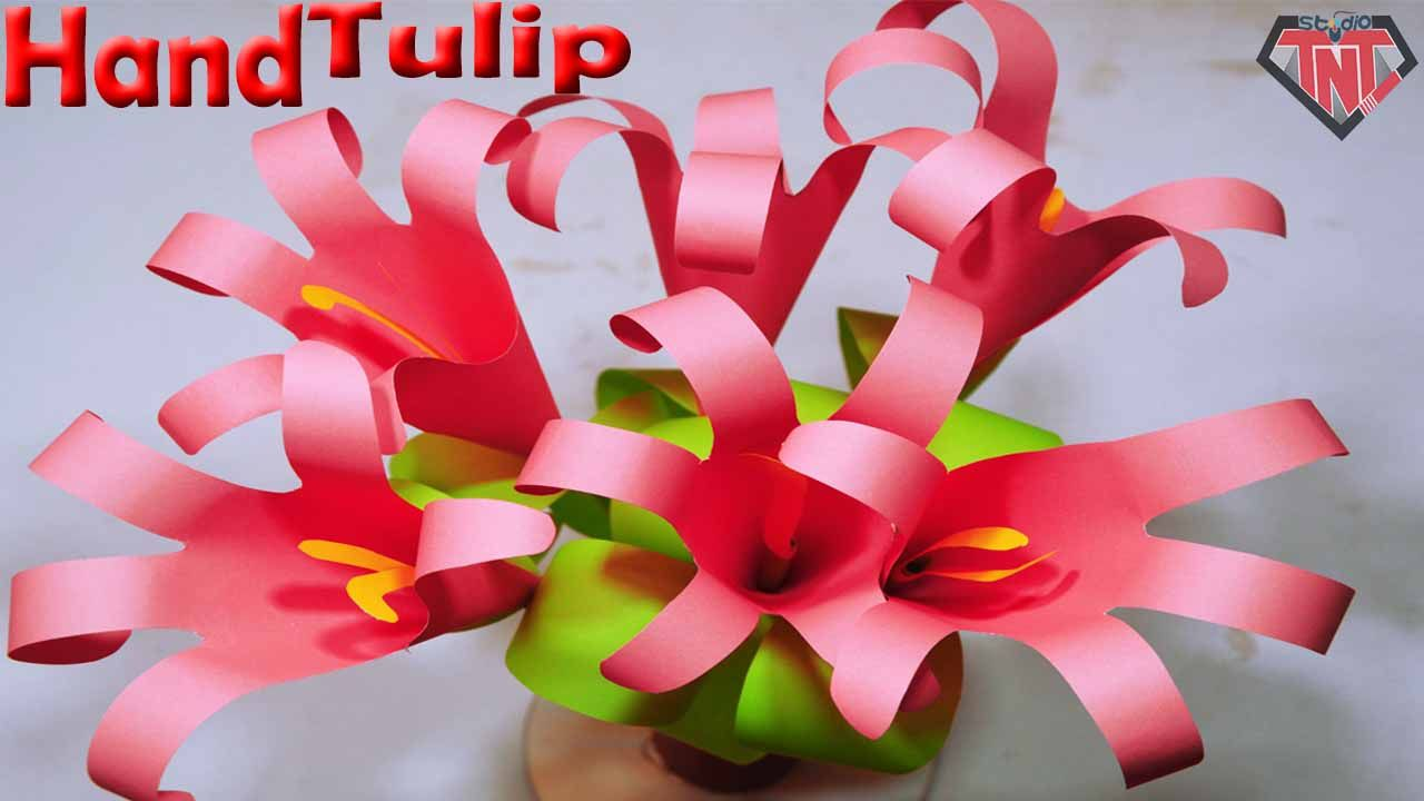 How To Make Paper Hand Tulip Paper Origami Flower Sticks