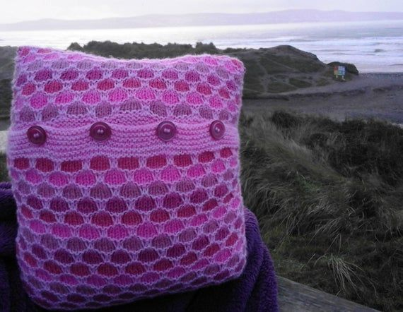 Knitting pattern for knitted textured cushions - single and multicoloured to fit 45cm and 35cm